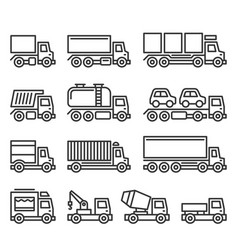 commercial van and truck icons set on white vector image