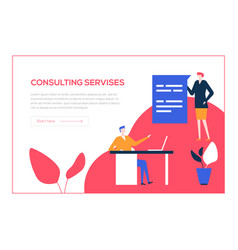 consulting services - flat design style colorful vector image