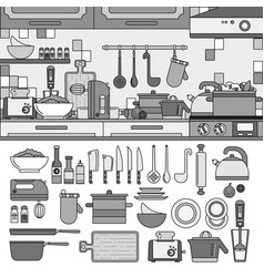 cooking tools and utensils in kitchen line vector image