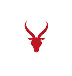 creative red goat head logo design symbol vector image