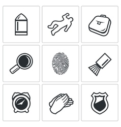 Criminalistics Search criminal icons set vector