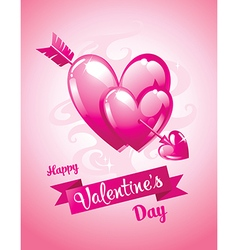 Cupids arrow and hearts Valentines Day card vector