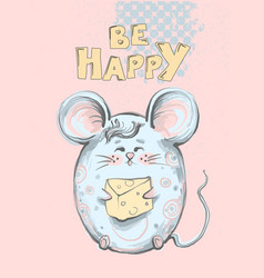Cute and funny fat mouse with big ears holding vector