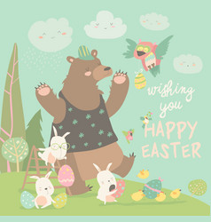 cute bear and happy rabbits celebrating easter vector image