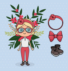 cute girl character with floral decoration and vector image