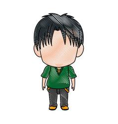 cute little boy anime faceless color image vector image