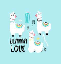 cute llama print design with slogan vector image