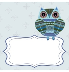 Cute owl with ethnic ornament text box vector image