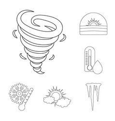 different weather outline icons in set collection vector image