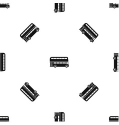 double decker bus pattern seamless black vector image