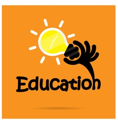 Education title texts and hand shape vector