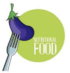 Eggplant nutritional food fork image poster vector