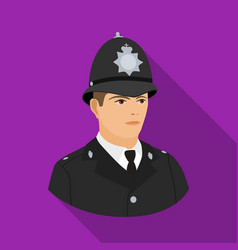 English policeman icon in flat style isolated on vector