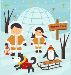 Eskimo boy and girl with arctic animals vector