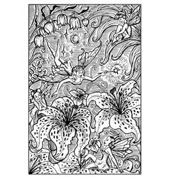 Fairy engraved fantasy vector