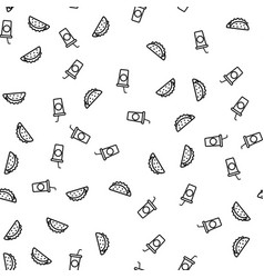 fast food and drink eating theme seamless pattern vector image