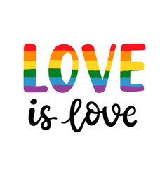 Gay hand written lettering poster love is love vector