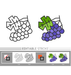 grapes linear icon coloring page vector image