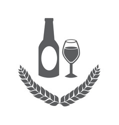 Grayscale emblem of bottle and glass beer vector