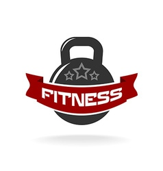 Gym fitness weight logo template with ribbon for vector