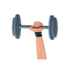 hand holding dumbbell gym concept design vector image