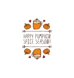 Handdrawn autumn element with text vector