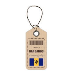 hang tag made in barbados with flag icon isolated vector image