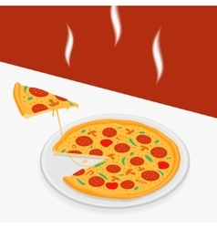 Hot pizza on a table vector image