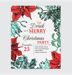 invitation card for a christmas party design vector image