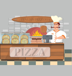 italian pizzeria interior banner in cartoon style vector image