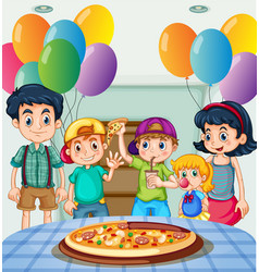 Kids eating pizza at party vector