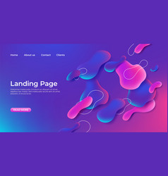 Landing page abstract template fluid website 3d vector