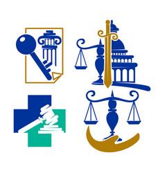 Law justice firm logo cross balance design icon vector