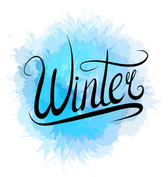 lettering winter written by hand with blue vector image