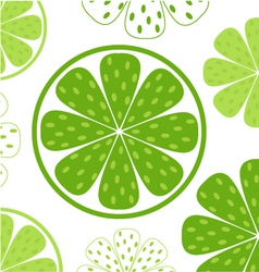 Lime slices pattern vector