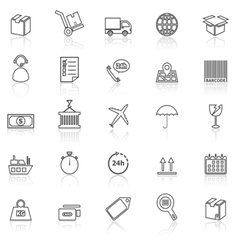 Logistics line icons with reflect on white vector