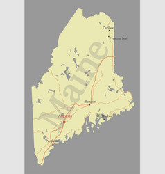 maine detailed exact detailed state map with vector image