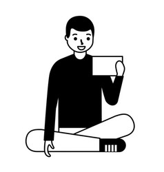 man sitting using mobile vector image