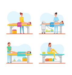 Massage relieving from back pain icons set vector