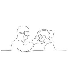 medical staff check body temperature at woman vector image