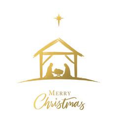 Merry christmas jesus in manger star golden vector