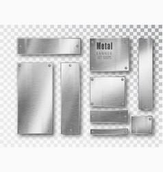 metal banners set realistic metal brushed vector image