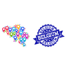 Mosaic map of belgium with map pointers and grunge vector