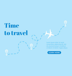 motivational poster with tourism route flight by vector image