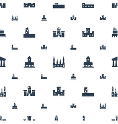 Museum icons pattern seamless white background vector