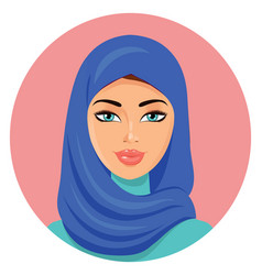 Muslim young beautiful arab woman in a blue hijab vector