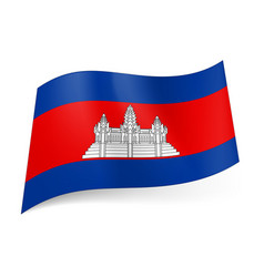 National flag of cambodia white temple on red vector