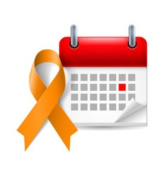 Orange awareness ribbon and calendar vector image
