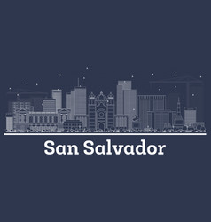 Outline san salvador city skyline with white vector