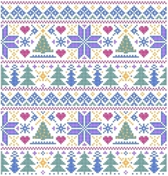 pattern with trees and snowflakes vector image